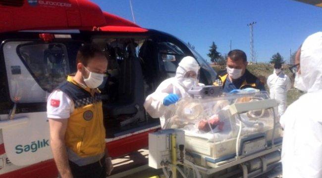 Vezirköprü'de Yeni doğan bebek için ambulans helikopter havalandı
